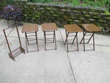 TV Tables Folding Artex Butlerette Eagle Stars Wood Stand Mid Century Set of 4