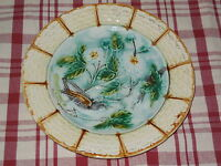 ANTIQUE FRENCH Majolica PLATE , Floral & birds pattern