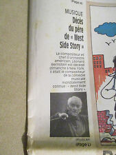 JOURNAL DU DECES DE : LEONARD BERNSTEIN - 16/10/1990 - WEST SIDE STORY -
