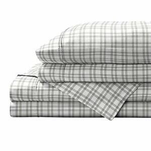 Brielle Printed 100% Cotton Percale Sheet Set Plaid Full Gray