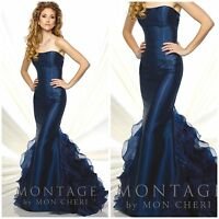 MON CHERI116935 MARMAID GOWN IN NAVY BLUE WITH RUFFLES IN BACK $499 SZ-6 STOCK