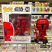 "Funko Pop Star Wars : The Mandalorian Red Chrome #345 Vinyl Figure ""MINT"""