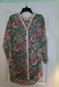 Victoria Secret Polyester Silk Kimono/Lounge Shirt   Button Up PaisleyVintage