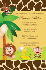 Jungle Safari Zoo Animal Custom Birthday Baby Shower boy girl Invitation U Print