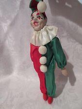 "Clown Doll porcelain Red  & Green Christmas Ornament  9"" tall"