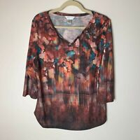 Christopher & Banks Women's Top Size Large 3/4 Sleeves Casual Multicolor