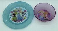 Disney Store Frozen Elsa Anna Purple Bowl Blue Plate Meal Time Magic Glitter Lot