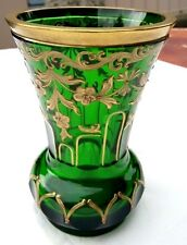VINTAGE BOHEMIAN GREEN CRYSTAL WITH GOLD ENAMEL VASE.