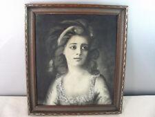 Antique 1917 Framed Charcoal Portrait of Countess Sophie Potocka Zofia Potocka
