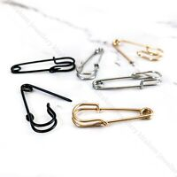 Safety Pin Earrings Silver Black Gold Tone Pair K POP Punk Goth Trendy Unique