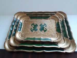 VTG Italian Florentina Tray Art, Set of 3, Green on Gold Gilt Design, Wood Resin