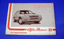 Alfa Romeo 33 33 1.8 TD Libretto Uso e Manutenzione 1989