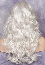 Heat OK Wavy Long full Wig Blonde mix Bangs Layered Hair piece 60 WBPO Grey