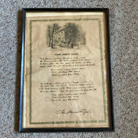 John Howard Payne Homestead East Hampton Paper Home Sweet Home Poem Framed VTG