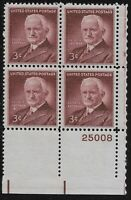 US Scott #1062, Plate Block #25008 1954 Eastman 3c FVF MNH Lower Right