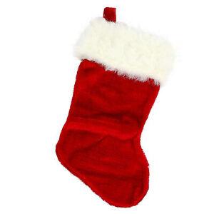 """18"""" Red Regal Small Plush Velvet Christmas Stocking Seasonal Festive Home Decor"""