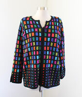 Design Options Black Rainbow Block Knit Zip Front Cardigan Sweater Jacket Size S
