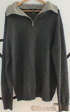New Genuine Gant 85068 Alpaca Wool Knit Contrast Half Zip Grey XL Jumper Sweater