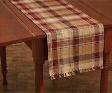 Country Hearthside Table Runner 13X36 Wine Brown Mustard Tan Plaid Cotton