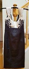 Karen Millen Black/ cream Lace Applique Dress - 4