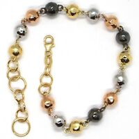 18K YELLOW WHITE ROSE BLACK GOLD BRACELET, WORKED ALTERNATE NUGGETS SPHERE LINKS