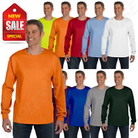 Hanes Mens Long Sleeve Pocket T-Shirt 100% Cotton 6.1 oz Heavy Tagless S-XL 5596