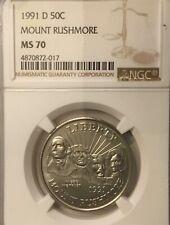 1991 D 50c Mount Rushmore Commemorative   NGC MS70