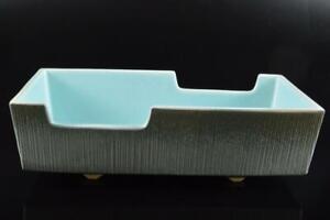 P9348: Japan Kiyomizu-ware Blue glaze Shapely FLOWER VASE Ikebana Tea Ceremony