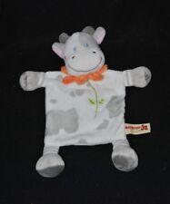 Peluche doudou vache plat NICOTOY gris blanc col orange fleur TTBE