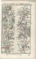 Antique map, Road: Metz to Saarlouis. 1774, Guide Royal par L Denis