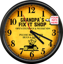Grandpa's Dad's Pop's Fix It Shop Gift Garage Repair Auto Retro Sign Wall Clock