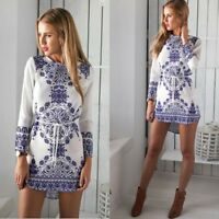 Fashion Women's Printing Long Sleeve Bodycon Casual Party Evening Cocktail Dress