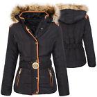 Mujer Acolchado Chaqueta de invierno cálido capucha cuello piel sintética d-361