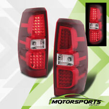 2007-2013 Chevrolet Avalanche Red Clear LED Brake Tail Lights Rear Lamps Pair