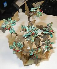 RARE OLD 19TH CENTURY SMALL TURQUOISE JADE FLORAL BLOSSOM TREE