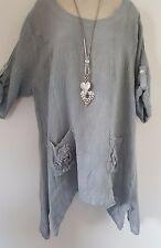 Italian Lagenlook Linen Tunic Top Kaftan Grey Applique Pockets Size 18 20 22 24