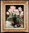 OSWALD POREAU (1877-1955) SIGNED BELGIAN OIL ON PANEl - TULIPS FLOWERS VASE