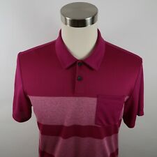 Adidas Golf Mens Polyester Ss Fuchsia Pink Striped Activewear Polo Shirt Medium