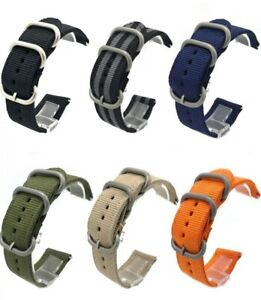 Heavy Duty Nylon 2 Piece 3 Ring Military Divers Watch Strap Band 18/20/22mm