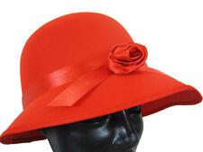1920's LADIES RED CLOCHE BONNET COSTUME HAT