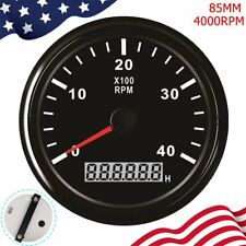 85mm 4000 RPM Marine Tachometer W/Digital Hourmeter Red Backlight For Car Truck