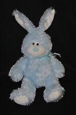 Peluche doudou lapin PLANET PLUCH JEMINI bleu blanc ruban noeud 28/38 cm NEUF
