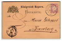 Bavaria 1885 Postal Card to Bromberg - Z13932