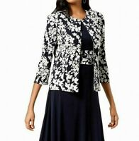 Jessica Howard Women's Bolero Jacket Blue Size 6 Textured Floral $99 #274
