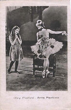 MARY PICKFORD AND ANNA PAVLOVA & ORIGINAL ca 1920s  RUSSIAN POSTCARD, RARE