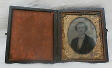 "Antique Daguerreotype in hinged case Handsome Young Man 2 x 2 1/2"" ninth plate"