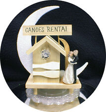 CANOES Boating Camping Fishing Lake beach Cabin Funny bride & Groom top Ornament