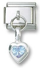 Italian Charm Link Dangle Birthstone Heart CZ Sterling Silver June Free Shipping