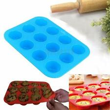 12 Cavity Silicone Muffin Pan Mold Cupcake Chocolate Cookie Baking Mould Tray
