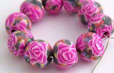 10 pcs, Fuchsia Rose beads,Handmade, polymer clay, beads, 10mm, DIY craft #Rfu01
